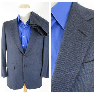 Hickey Freeman Navy Pinstripe Suit Short